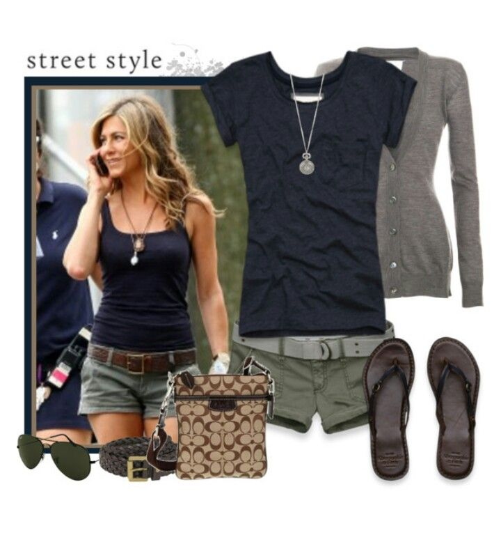 Jennifer Aniston inspired summer outfit.  I have these pieces right down to the necklace type.