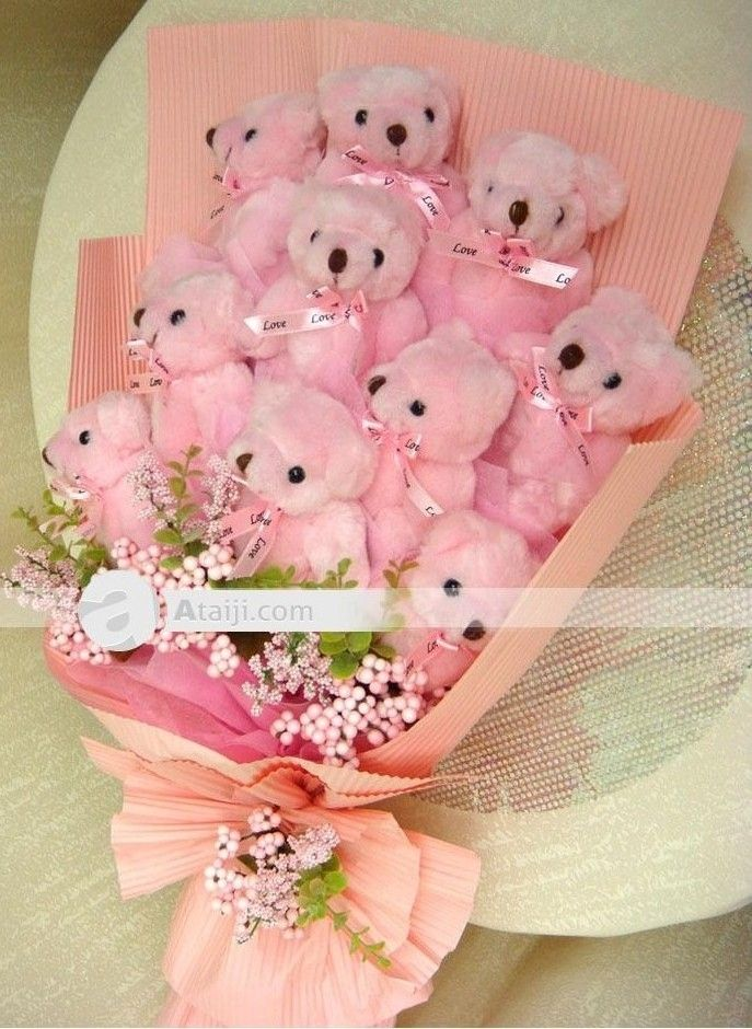PInk Teddys Bouquet wraped