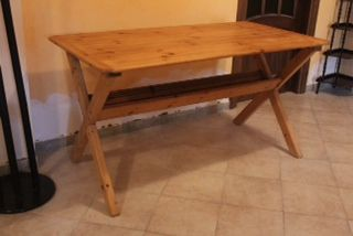 Pine picnic table suitable for indoors and outdoors