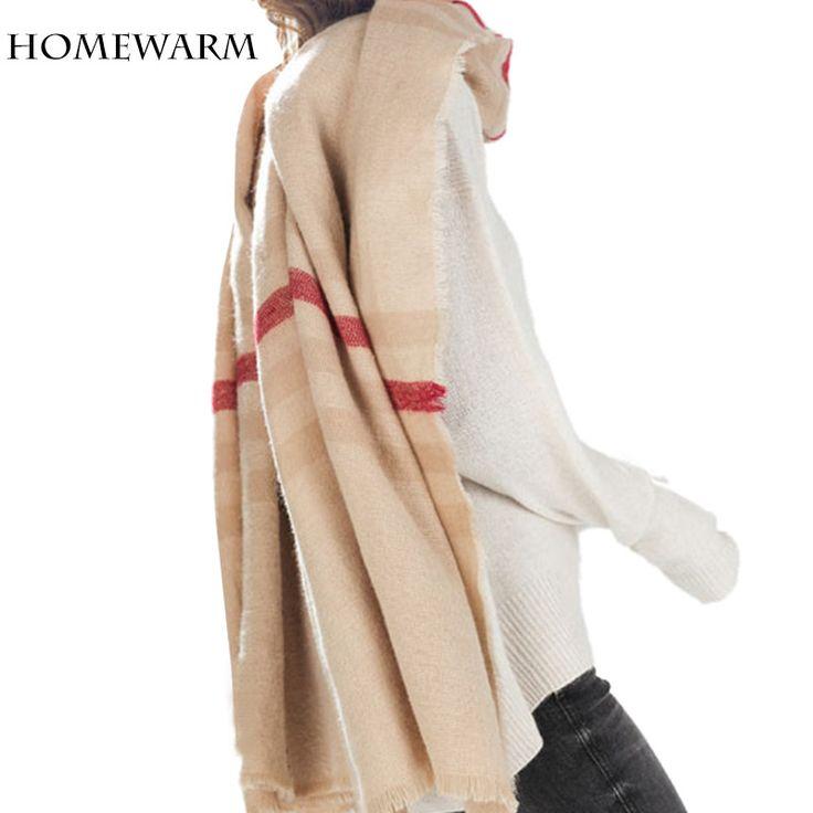 Winter Scarf  Women Tartan Scarves Tartan Plaid  Beige Cozy Checked Blanket Oversized Wrap Shawl Bandana Blanket Scarf