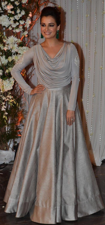 Pinterest: @Littlehub  || Dreamy Lehenga's❤•。*゚||  Dia Mirza in a beautiful lehenga at Bipasha basu wedding party