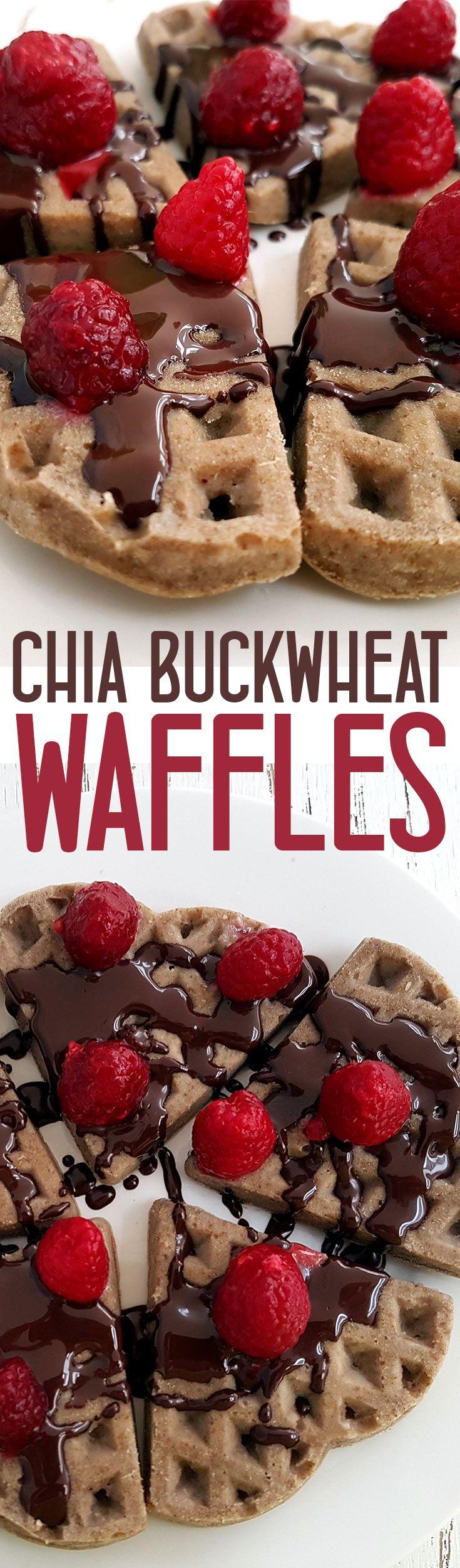 Chia Buckwheat Waffles with Berries and Chocolate - Vegan and gluten free via @nestandglow