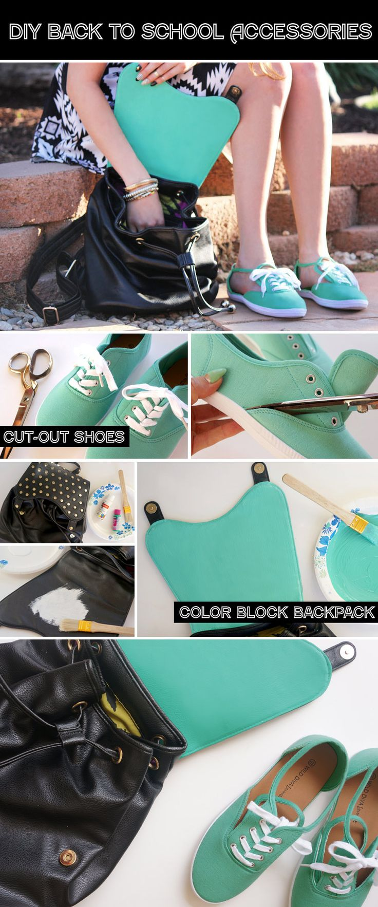 DIY Back to School Accessories — love the idea of painting the inside of the bag flap