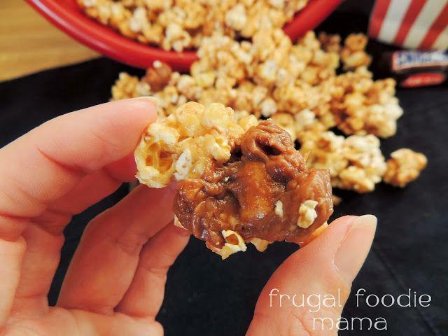 MVPeanut Butter Snickers Popcorn via thefrugalfoodiemama.com #shop #GameDayBites #cbias