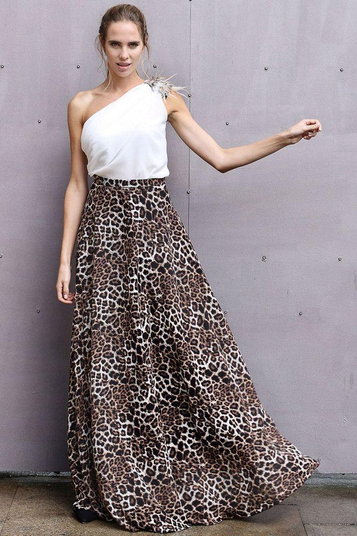 falda de vuelo larga con estampado animal print de leopardo para bodas fiestas eventos coctel nochevieja de arimoka en apparentia