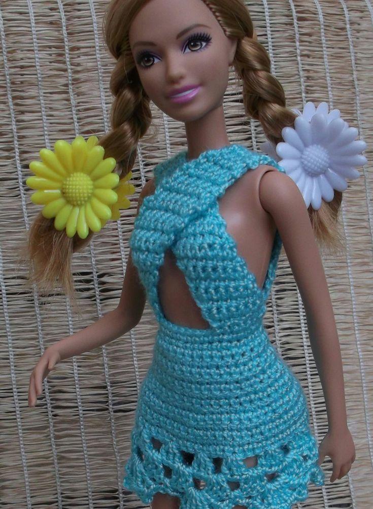 Свяжем секси-сарафан дл я куклы Барби. Associate sundress for Barbie dolls.