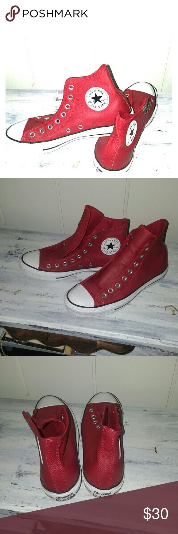 Red Leather Converse All Star  High Tops Barely worn, red leather Converse All Stars. Excellent conditon. Just need shoe laces. Perfect for the atheletic chic outfit! Converse Shoes Athletic Shoes