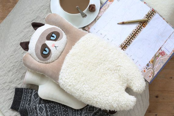XL Grumpy Cat hot water bag COVER by PetitiPanda on Etsy