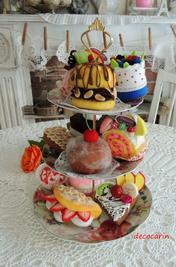 Felt Cake Set of 11 Felt Food Children's Christmas by decocarin