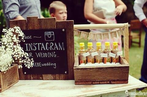 Instagram sign for wedding, engagement party etc. Rustic theme. Bubbles tray. Fill with bubbles. Kids personalized bubbles. #rusticwedding #weddingbubbles #rusticdisplay #sidetable #recycledtimberbox #timbertote #weddingprops