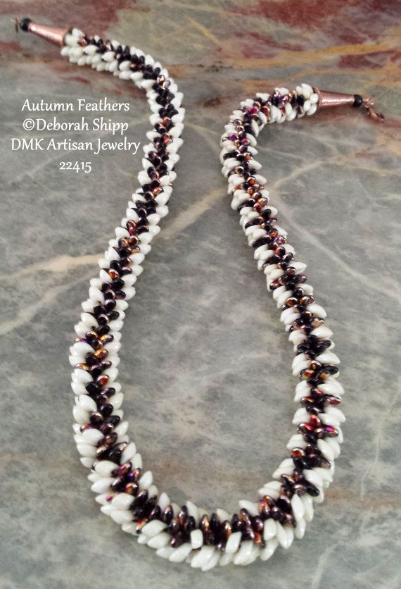 "TUTORIAL ONLY - ""Autumn Feathers"" Kumihimo Necklace for Kumihimo Disk or Marudai"