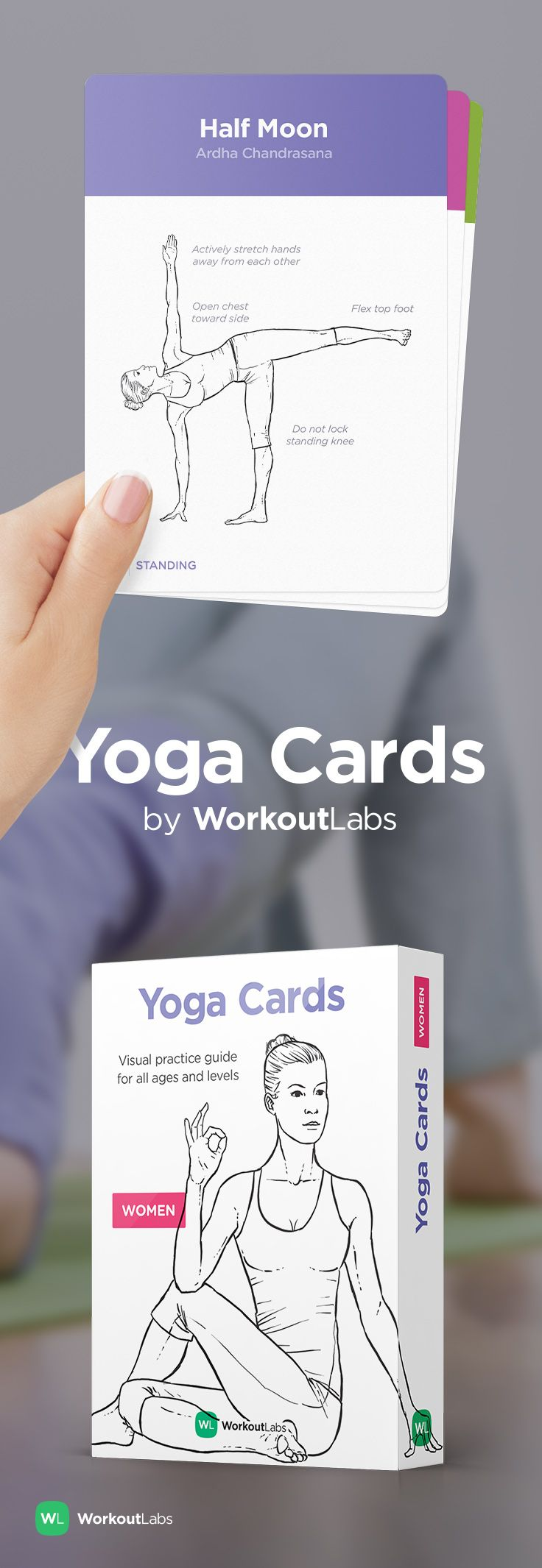 Learn and practice yoga independently with YOGA CARDS –a simple visual guide with essential poses, breathing exercises and meditation. Visit http://WLShop.co
