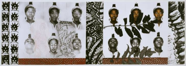 Sonia Boyce, 'From Tarzan to Rambo: English Born 'Native' Considers her Relationship to the Constructed/Self Image and her Roots in Reconstruction' 1987