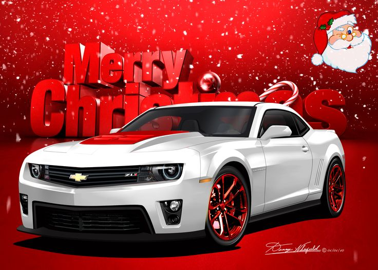 Chevy Camaro say's Merry Christmas from the Automotive Art of Danny Whitfield!