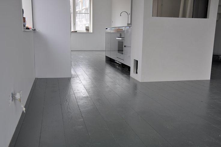 eiken houten vloer verouderd grijs geverfd