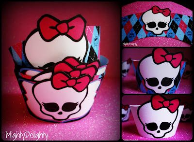 Free printable Monster High cupcake wrappers. 3 styles.