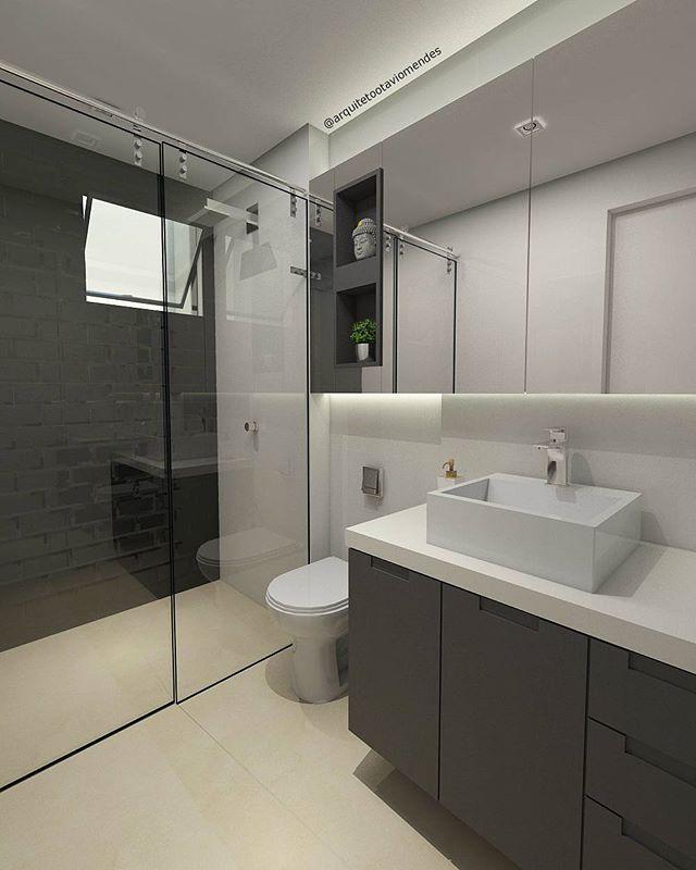 Projeto Arquiteto Otávio Mendes.  Eu amo utilizar os novos tijolinhos metrô e dessa vez coloquei o Black.  Banheiro social de um apê super diferentão!!