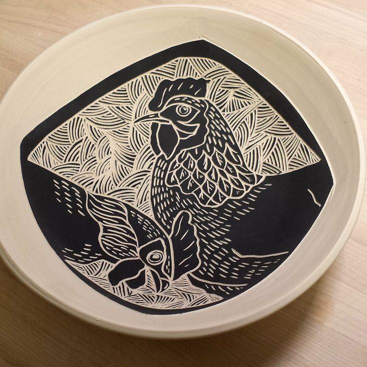 Laurie Landry Sgraffito hen bowl www.laurielandrypottery.com