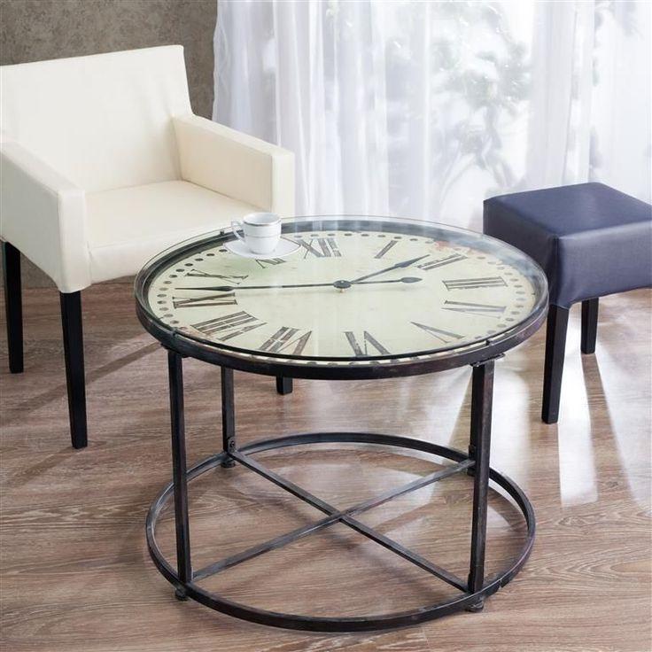 #zegar #clock #watch #decoration #dekoracje  #home #interior #design #ideas Stolik okrągły fi 80cm blat zegar, fi 80cm - Dekoria