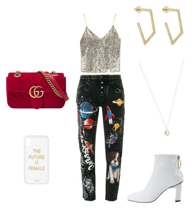 """""""Sparkles and outerspace"""" by elainakate on Polyvore featuring Alice + Olivia, Dolce&Gabbana, Gucci, Sonix and Eva Fehren"""
