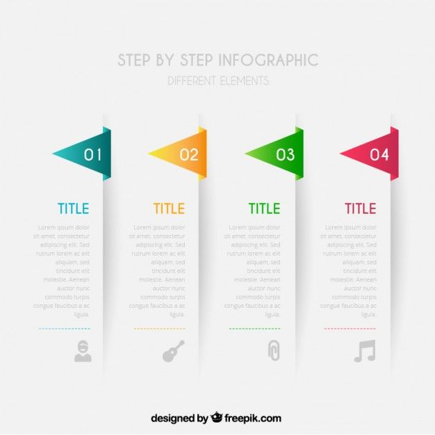Step by step infographic Free Vector