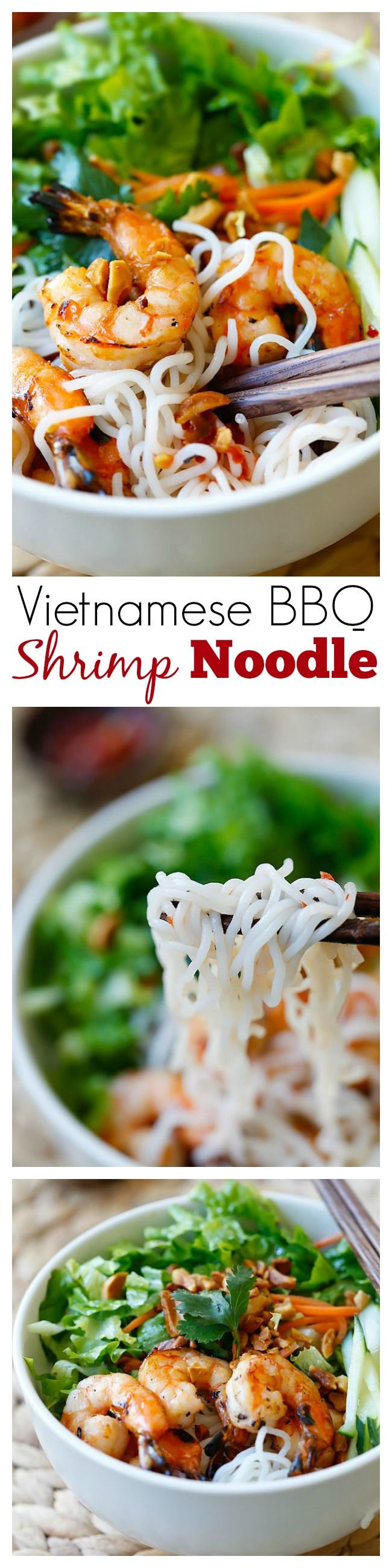 Vietnam - BBQ Shrimp Vermicelli or Bun Tom Heo Nuong is a delicious and healthy noodle dish with shrimp and lots of vegetables, served with a sauce | rasamalaysia.com