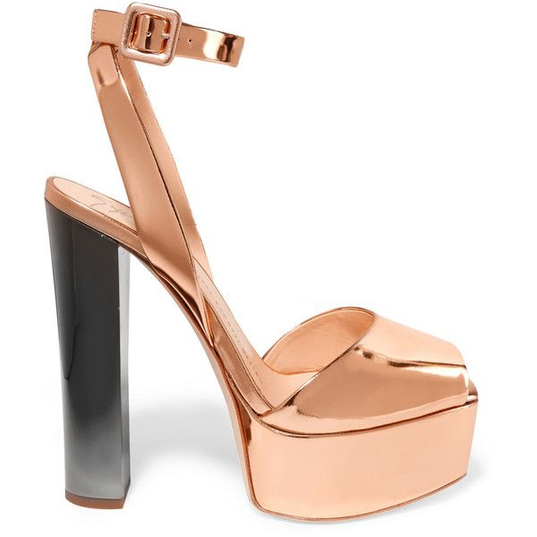 Giuseppe Zanotti Mirrored-leather platform sandals (25,065 THB) ❤ liked on Polyvore featuring shoes, sandals, heels, giuseppe zanotti, footwear, metallic, platform sandals, high heel shoes, platform shoes and strappy platform sandals