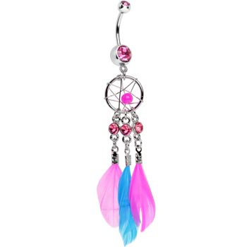 Playful Pink Aqua Natural Feather Dreamcatcher Belly Ring | Body Candy Body Jewelry