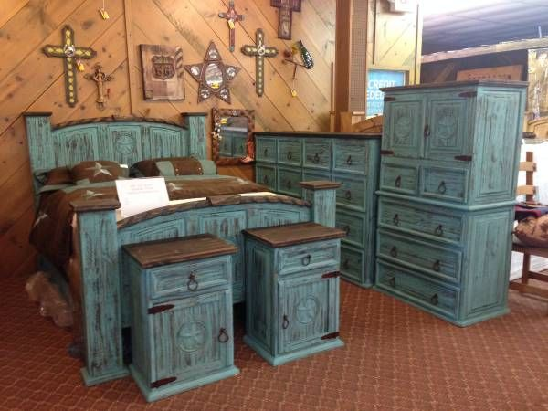 Rustic bedroom furniture turquoise aqua finish i have this for Rustic bedroom furniture