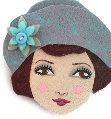 felt art broches | ... Girl Fabric Brooch, Felt Brooch, Art Brooch, Wearable Art Jewelry