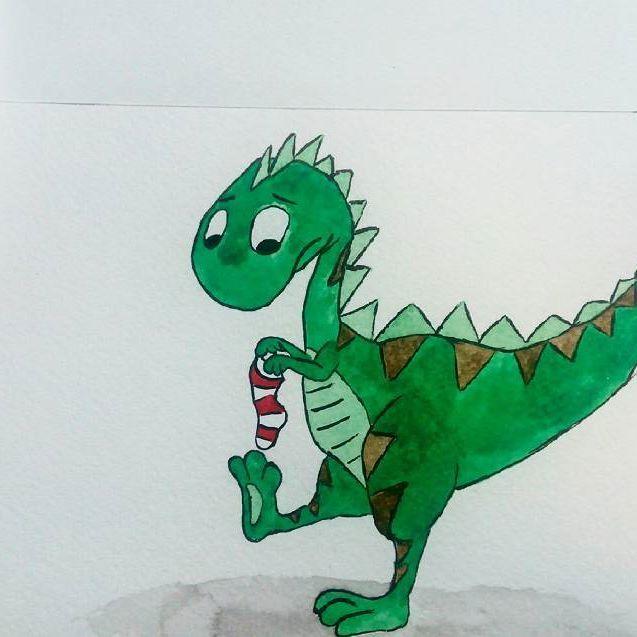 Эх, такие вот #сложности тема #носок . #арт_пинок от @marta__may . #тиранозавр #динозавр #акварель #рисовалостимои #dragon #watercolor #drawing #краски #персонаж