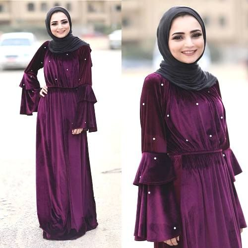 velvet hijab maxi dress-Furry sleeves sweaters with hijab – Just Trendy Girls