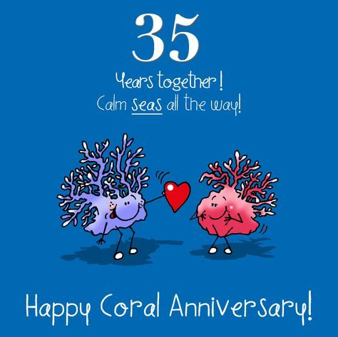 35th Wedding Anniversary Greetings Card - Coral Anniversary from Rinkit.com