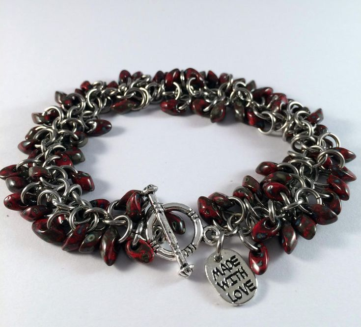 Beaded chainmaille bracelet - Shaggy bracelet in Red Picasso by…