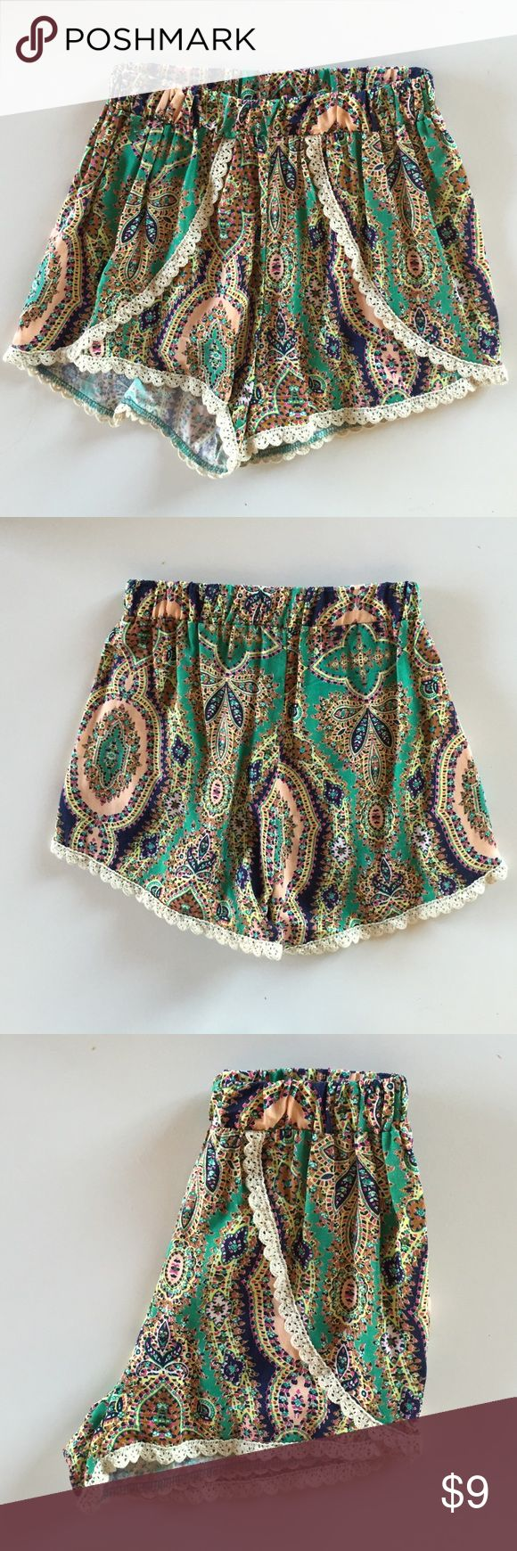 手机壳定制high tops for women size  Charlotte Russe Crochet Trim Boho Shorts Adorable pair of flowy shorts in a funky pattern with a scalloped crochet trim Semi high rise with elastic waist band Perfect for summer In very good condition worn maybe twice Measure   inches long Inseam is   inches Waist laid flat is  inches unstretched  Charlotte Russe Shorts