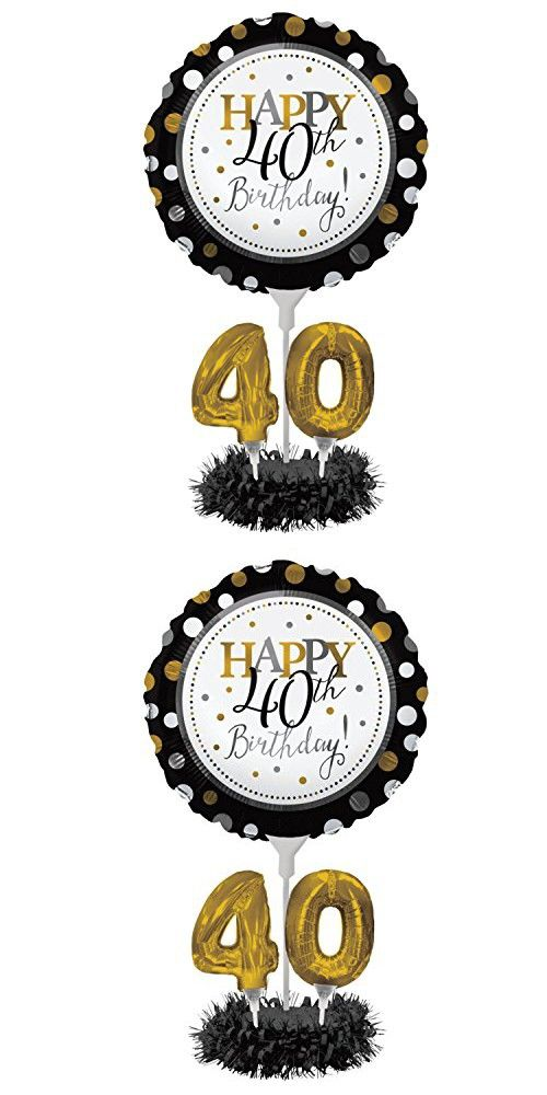 Set Of 4 Happy 40th Birthday Foil Party Balloon Centerpiece Kits 30