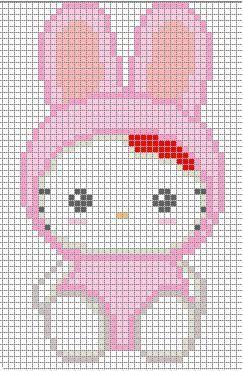 Free Hello Kitty Cross Stitch Chart or Hama Perler Bead Pattern