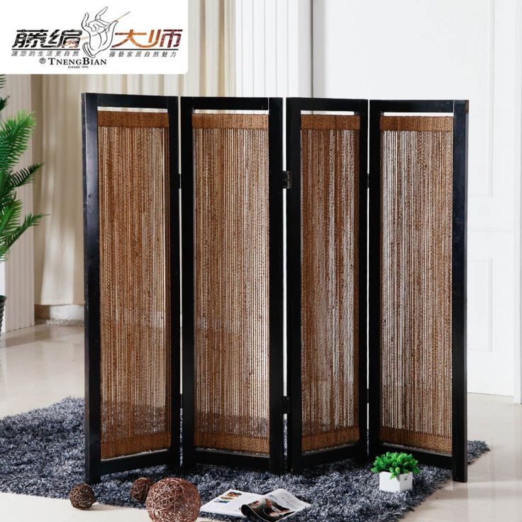 Decorating Ideas, : Agreeable Room Partition Decorating Design Ideas With Rattan Room Divider Along With Four Panel Door Room Divider