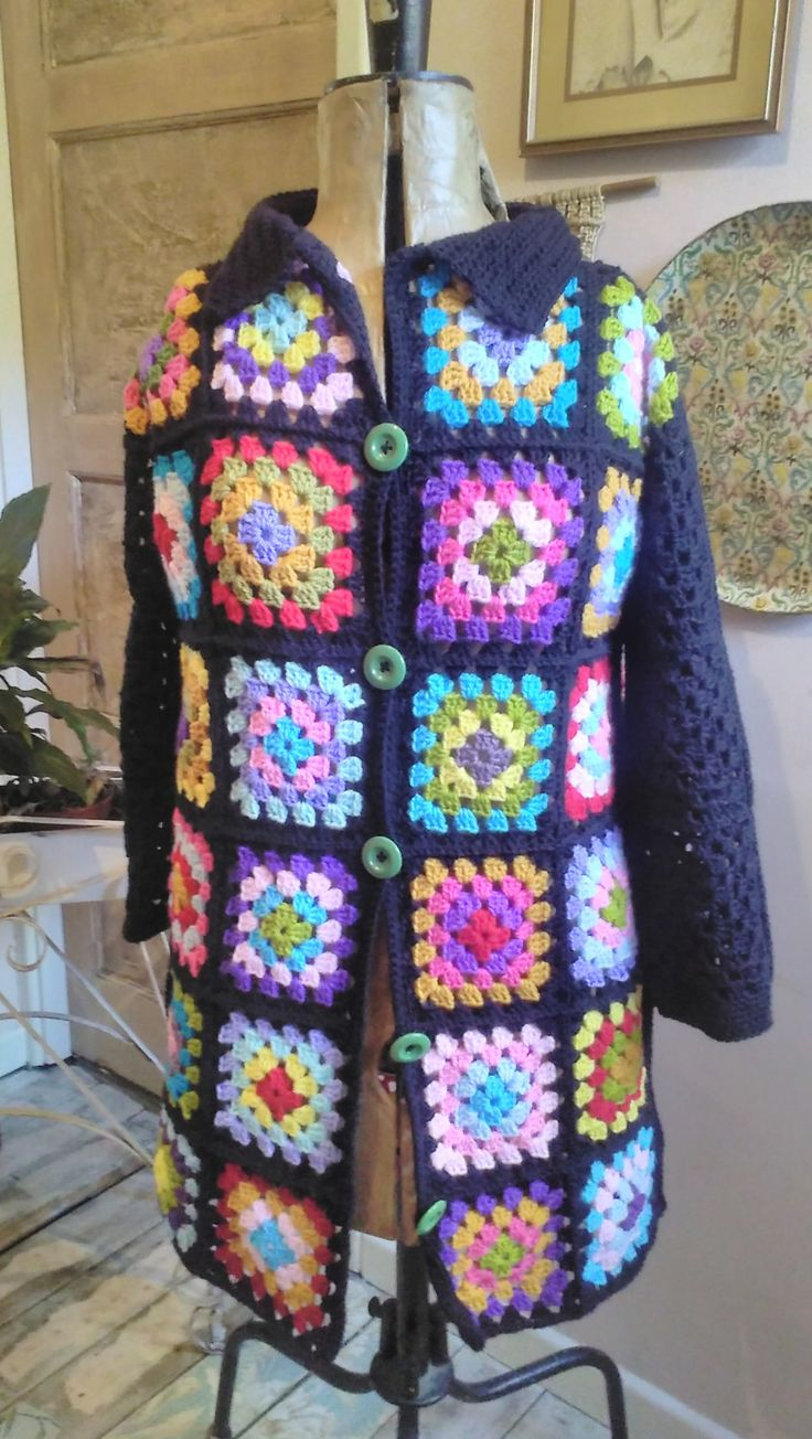 Unique Crochet Jacket, Crochet Cardigan, Crochet Afghan Coat, Hippie, Boho, Festival,OOAK, Granny Square Jacket, Patchwork by RescuedandRevamped on Etsy
