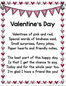 VALENTINE'S DAY POEM + BONUS ACTIVITIES - TeachersPayTeachers.com
