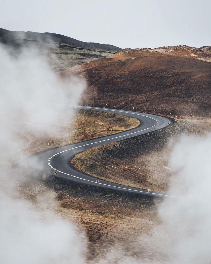 Roads winding through geothermal springs, Iceland.