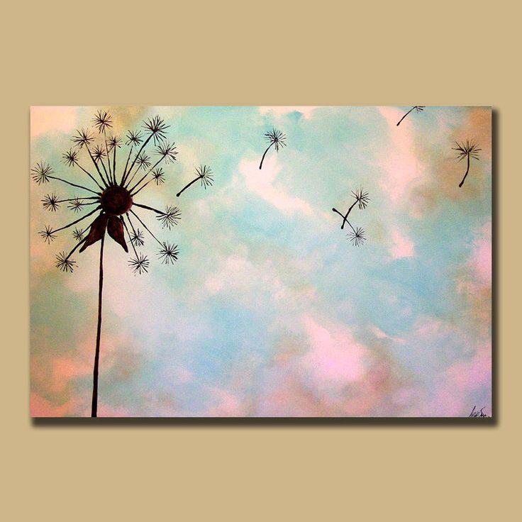 Minimal Dandelion Custom Painting 24 x 36 por ContemporaryEarthArt