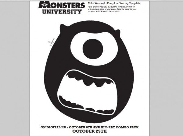Monsters university mike wazowski pumpkin carving template for Sully pumpkin template