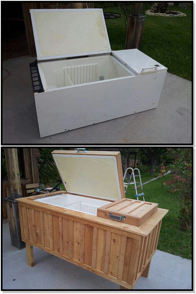 Old frig turned into a patio cooler.