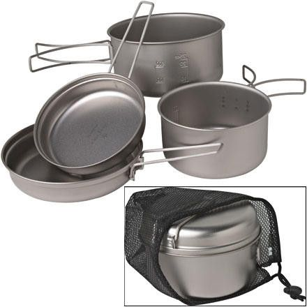 The Snow Peak Multi Compact Titanium Cookset is ultra light but burly enough for whipping up gourmet meals.