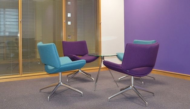 Jolly chairs and Maxa sofas were used in the reception lounge and breakout areas at Contract Services Design Studio refurbished offices, providing a relaxed meeting environment.