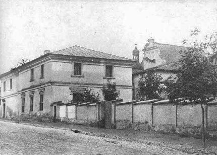 Ulica Bernardynska - nieistniejące zabudowania klasztorne  wyburzone w latach 1866-1905    w tym miejscu obecnie stoi budynek Vetterów