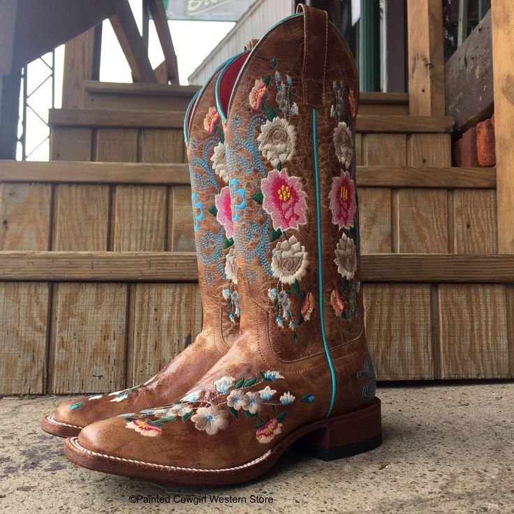 """- Rose Garden/Floral pattern - 13"""" Honey Bunch Top - Honey Bunch Vamp - Square Toe - Leather Construction - 1 1/3"""" Walking Heel - Leather Outsole - Double Stitch Welt - Removable Cushion Insole"""