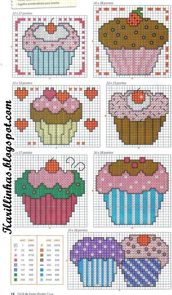 Cupcakes cross-stitch chart
