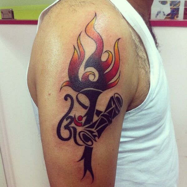 Lord shiva's flaming trident with om.